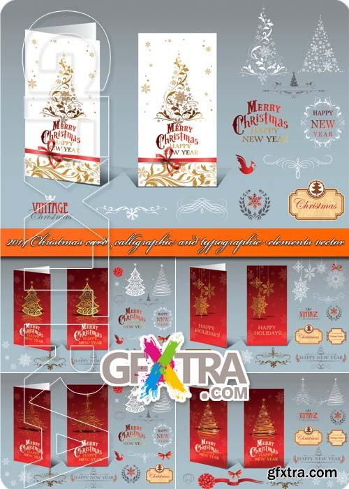 2014 Christmas card calligraphic and typographic elements vector