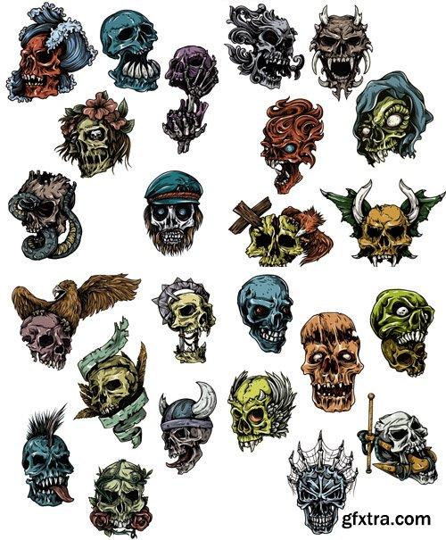T-Shirt Skulls Vector Pack