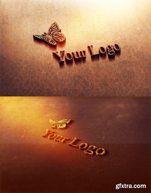 2 Gold and Rust Logo Mock-ups