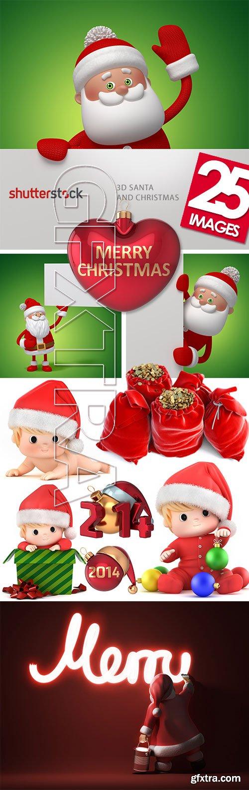 3D Santa and Christmas 25xJPG