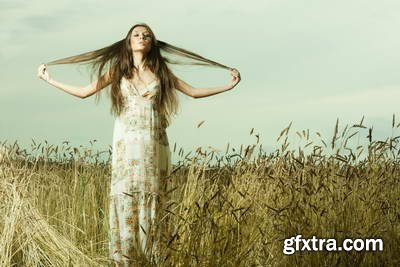 Girl on Wheat Field 25xJPG