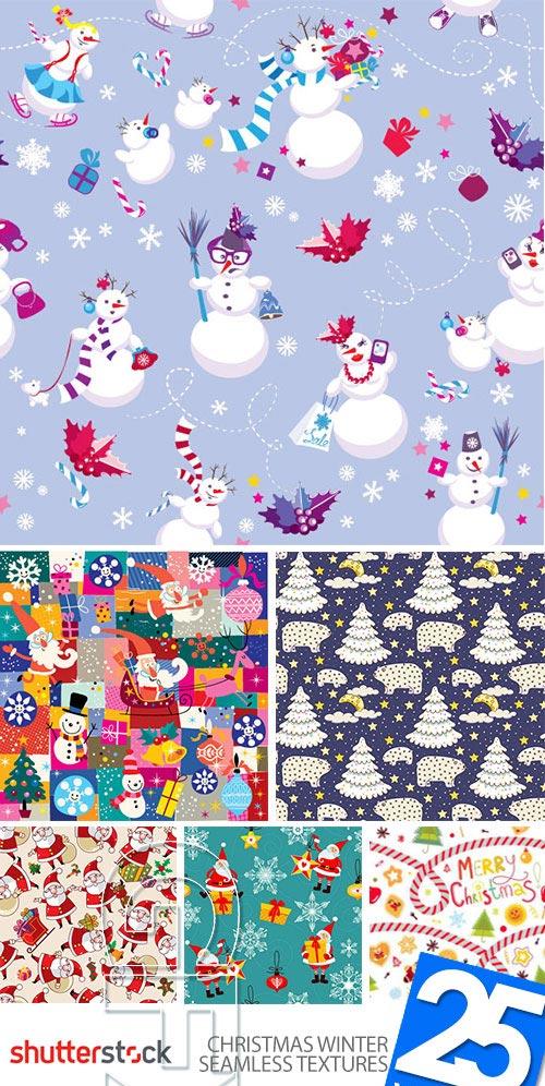 Christmas Winter Seamless Textures 25xEPS