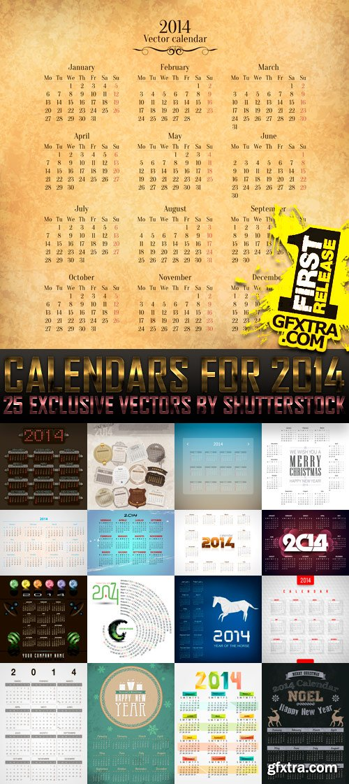 Amazing SS - Calendars for 2014 (vol.8), 25xEPS
