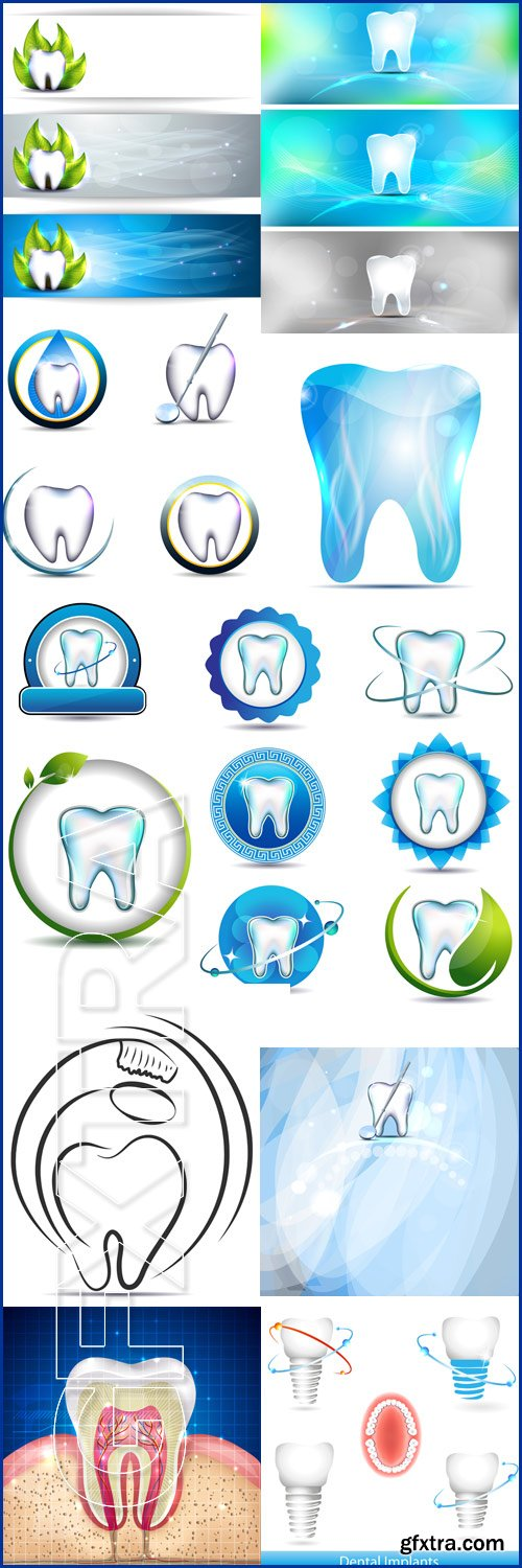 Dental banners, tooth and leaf, healthy teeth symbols, various designs Dental implants - Vektor photo
