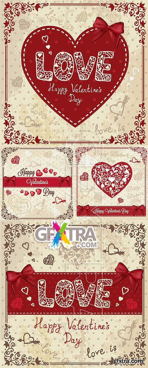 Stock vector - Valentine cards 00015