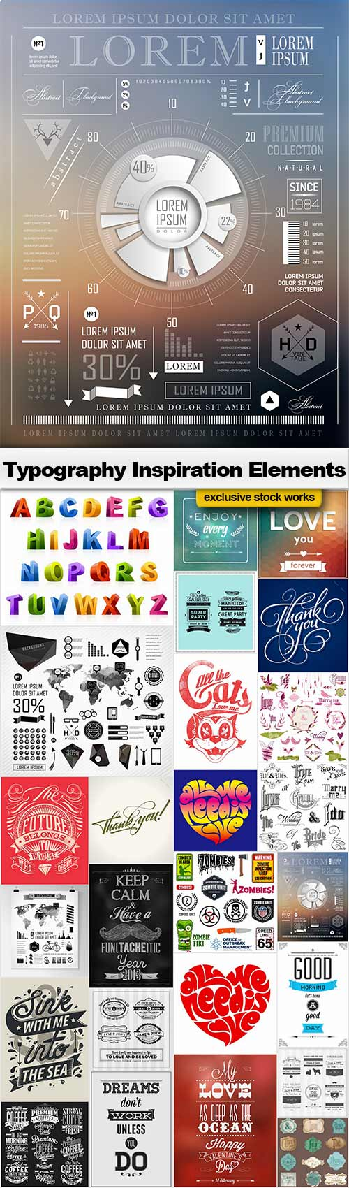 Typography Inspiration Elements - 25x EPS