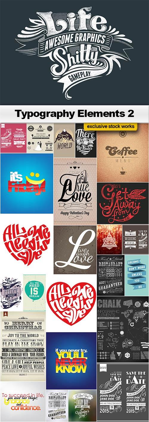 Typography Elements 2 - 25x EPS
