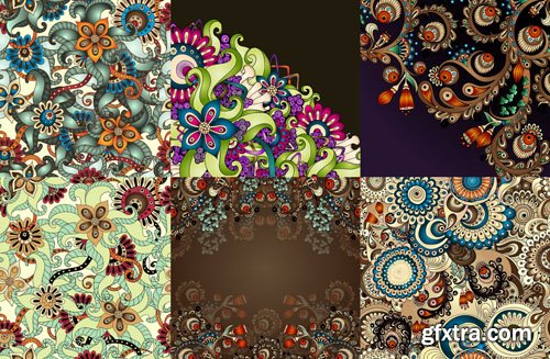 Beautiful Flower Backgrounds, 25xEPS