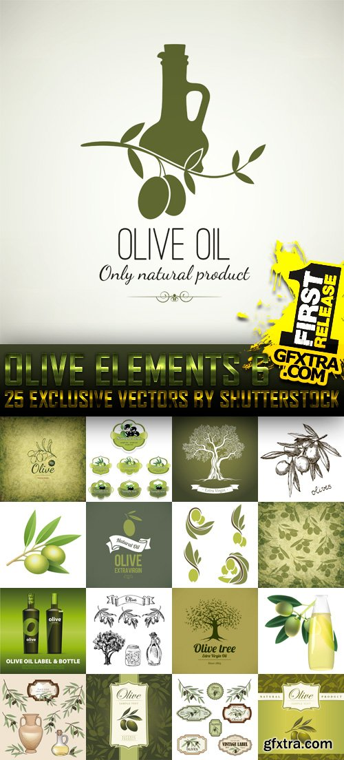 Amazing SS - Collections of Olive Elements 6, 25xEPS