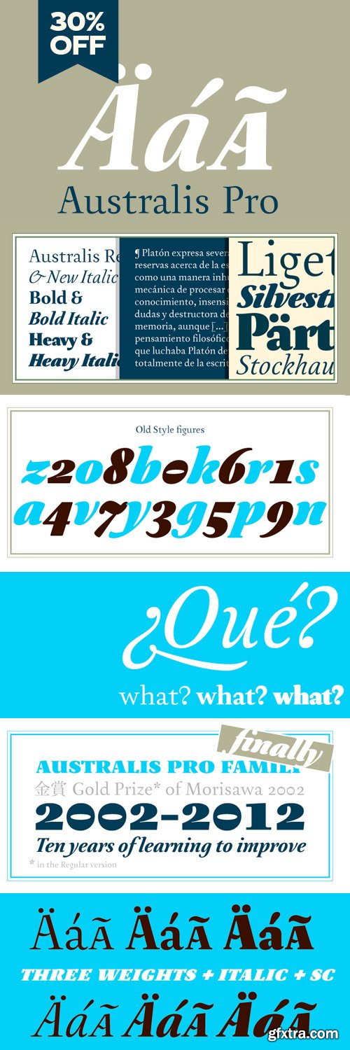 Australis Pro Font Family - 6 Fonts for 199$!