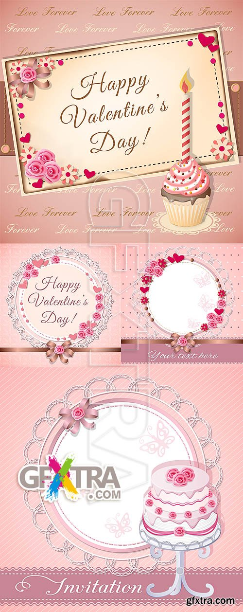 Stock vector - Valentine love cards 2