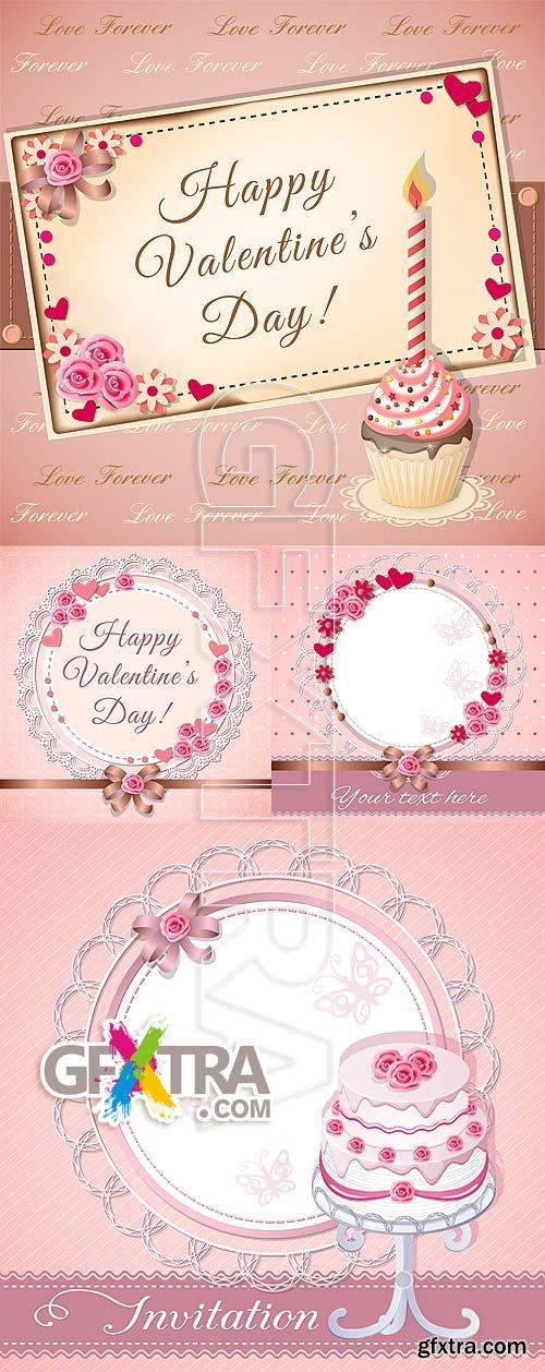 Stock vector - Valentine love cards 2