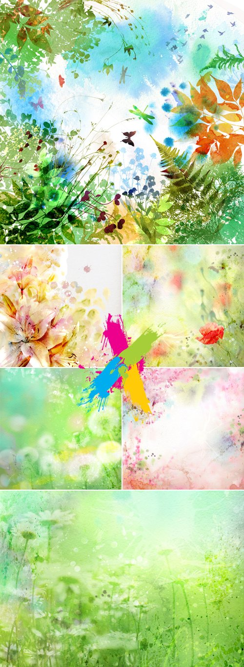 Stock Photo - Abstract Color Floral Backgrounds