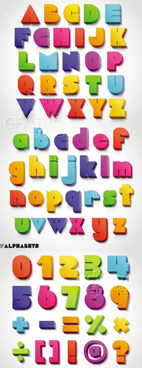 3D Color Alphabet Vector
