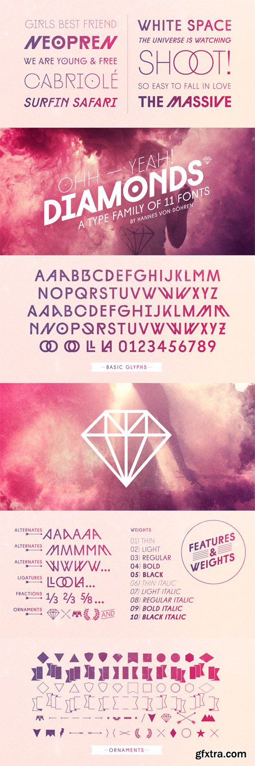 Diamonds Font Family - 11 Fonts for $150!