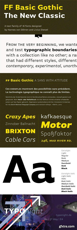 Basic Gothic Pro - 16 Fonts for $569!