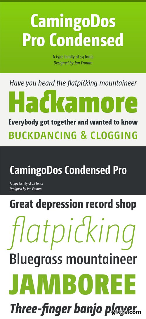 CamingoDos Pro Condensed Font Family - 14 Fonts for $637