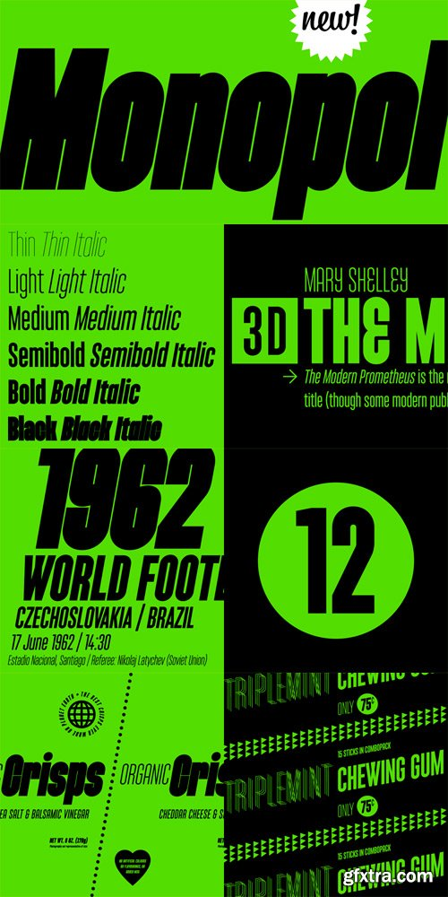 Monopol Font Family - 12 Fonts for $360