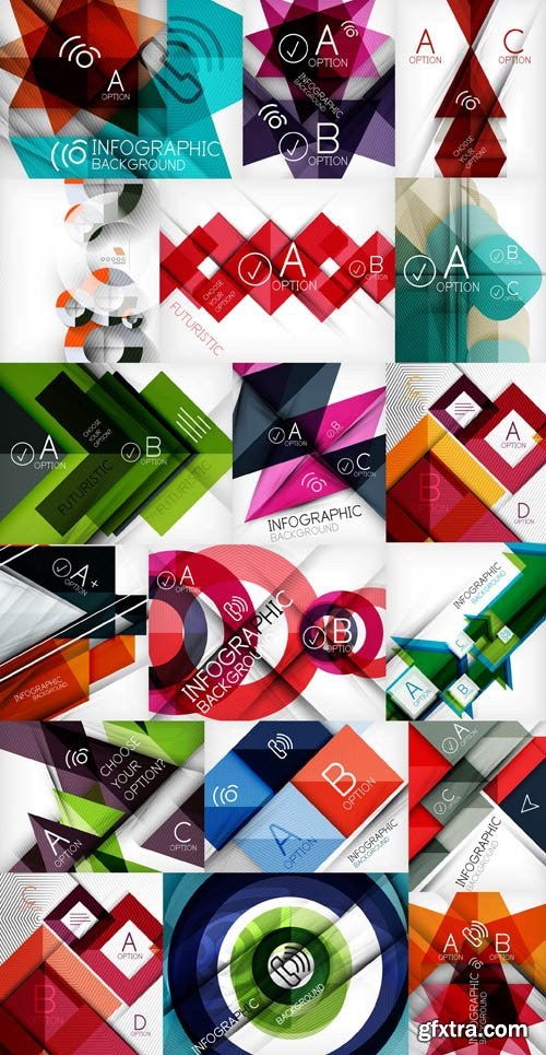 Abstract Backgrounds & Infographics Collection 2, 25xEPS