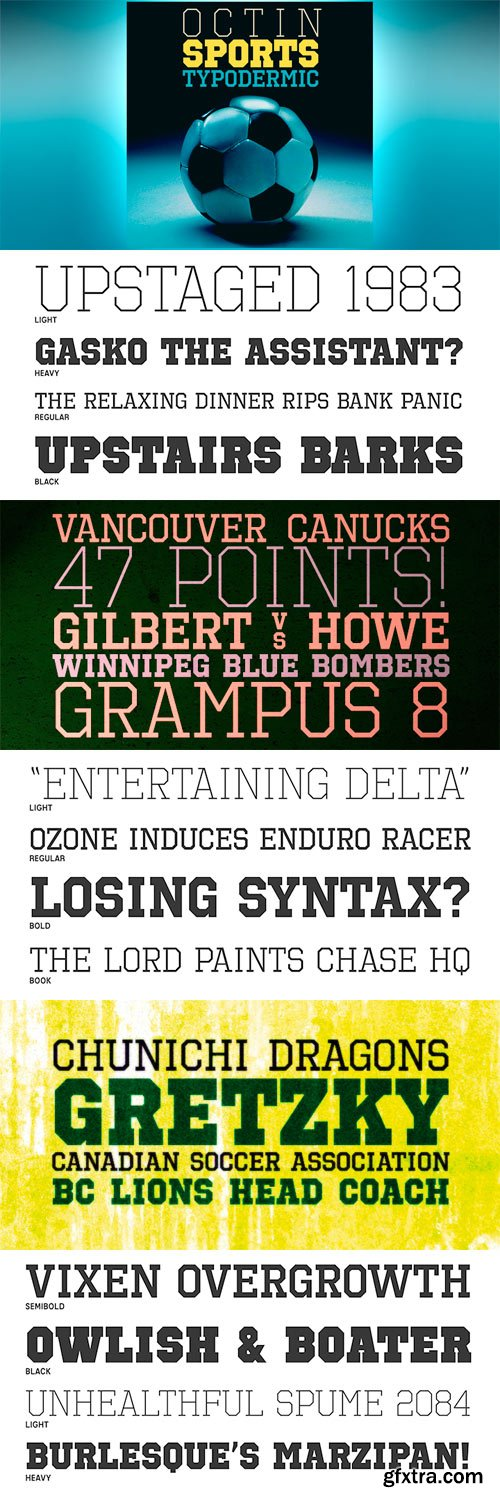 Octin Sports Font Family - 7 Fonts for $153