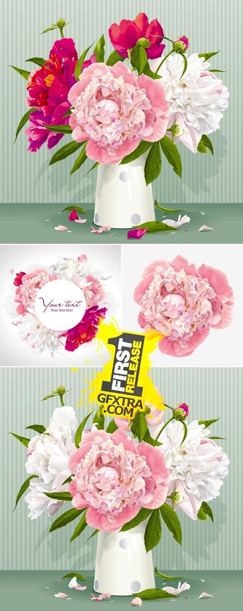 Peonies Bouquet Vector