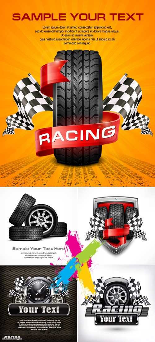 Racing & Car Tire Backgrounds Vector