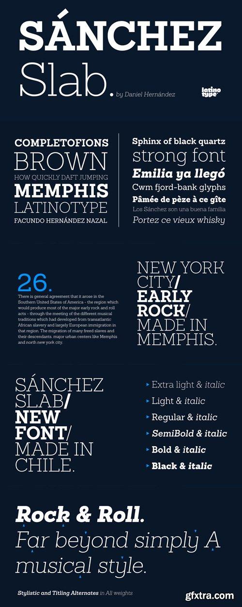 Sanchez Slab Font Family - 12 Fonts for $126