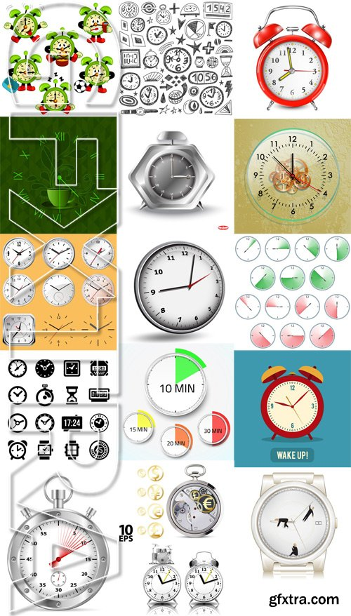 Shutterstock - Alarm clock, Time, watch, 25xEps