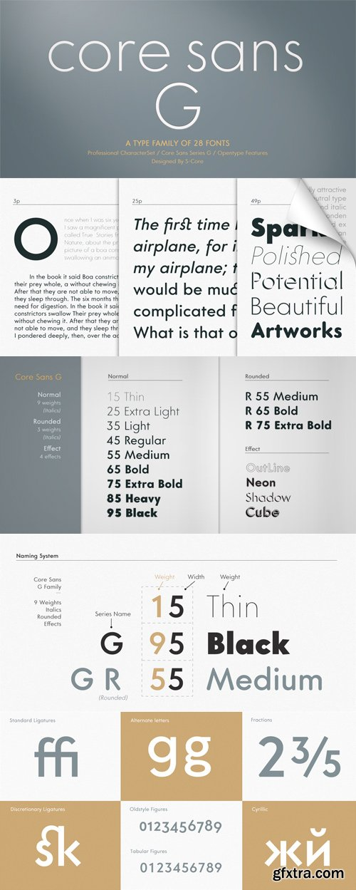 Core Sans G Font Family - 28 Fonts for $450