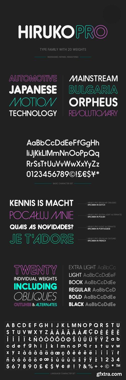 Hiruko Pro Font Family - 21 Fonts for $600