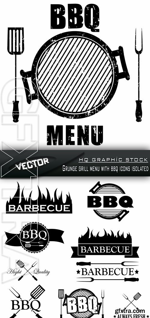 Stock Vector - Grunge grill menu with bbq icons isolated