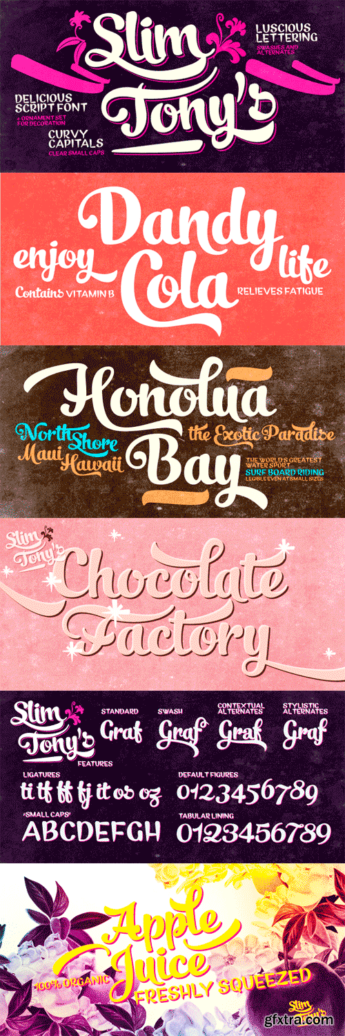 Slim Tony Font Family - 3 Fonts for $45