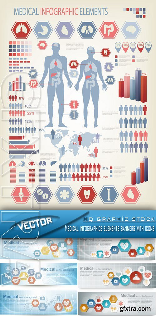 Stock Vector - Medical infographics elements banners with icons