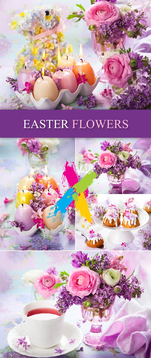 Stock Photo - Easter Flowers, Cakes, Candles