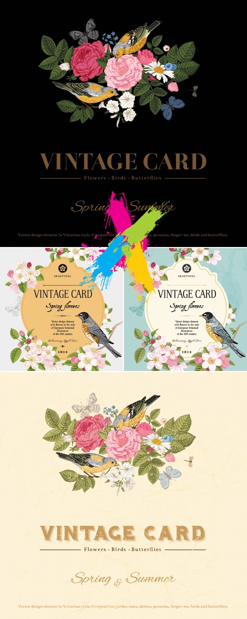 Vintage Cards with Spring or Summer Flowers Vector