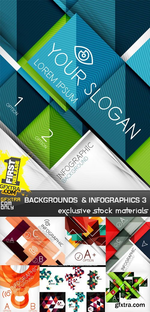 Abstract Backgrounds & Infographics Collection 3, 25xEPS
