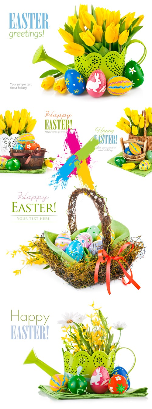 Stock Photo - Easter Cards with Tulips & Eggs