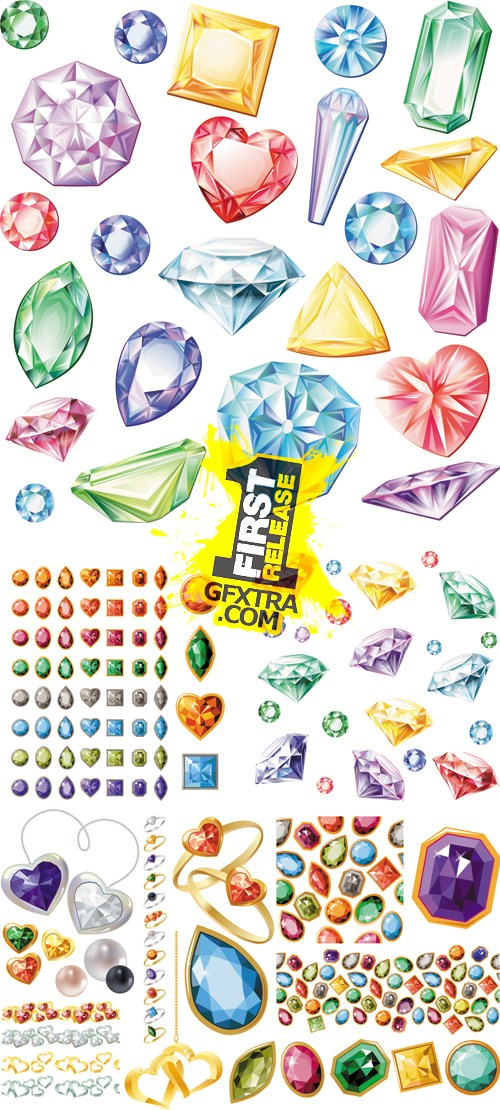 Jewels, Diamonds with Shapes Vector