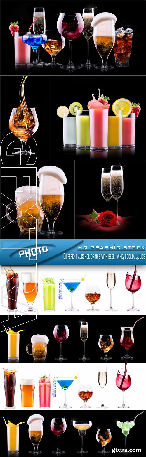 Stock Photo - Different alcohol drinks with beer, wine, cocktail,juice