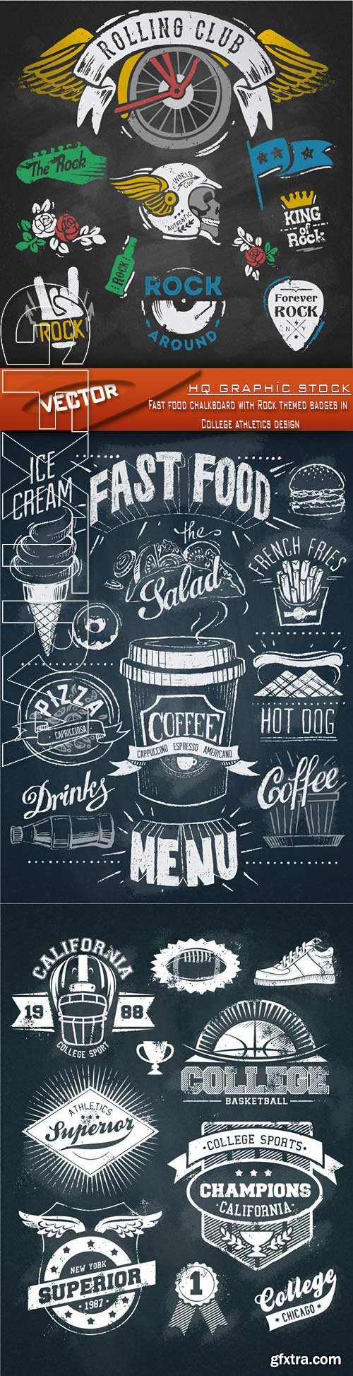 Stock Vector - Fast food chalkboard with Rock themed badges in College athletics design