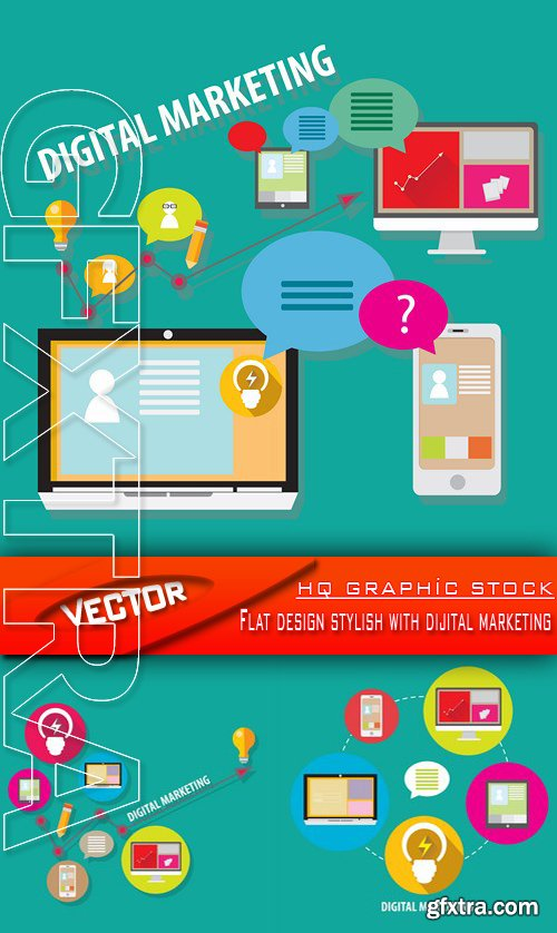 Stock Vector - Flat design stylish with dijital marketing