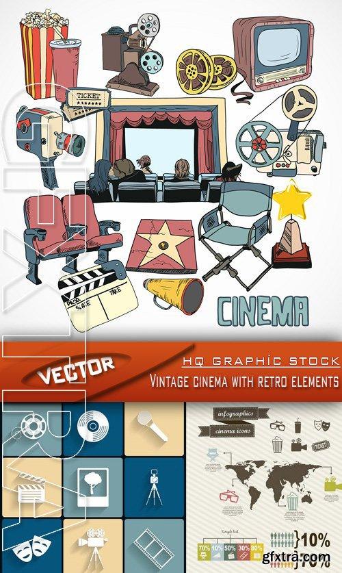 Stock Vector - Vintage cinema with retro elements