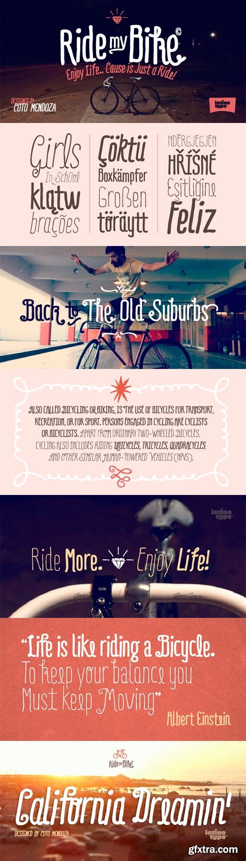 Ride my Bike Font Family - 5 Fonts for $176
