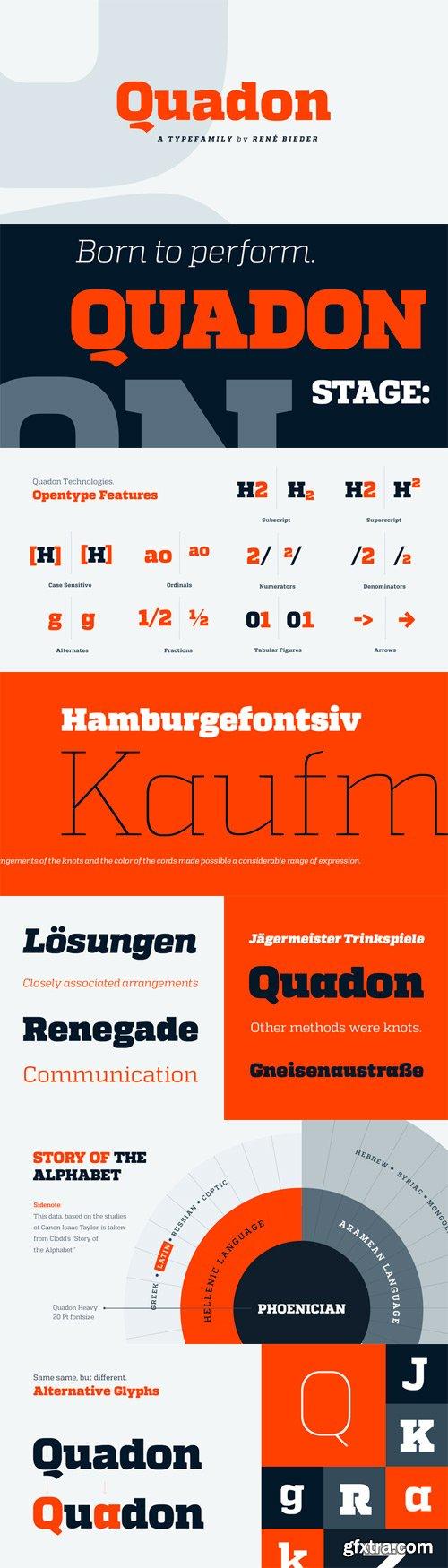 Quadon Font Family - 18 Fonts for $250