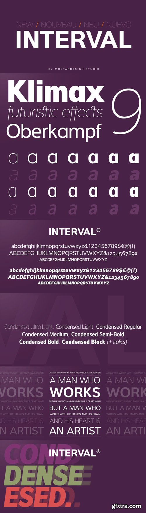Interval Sans Pro Font Family - 14 Fonts (Incomplete Family) for $364