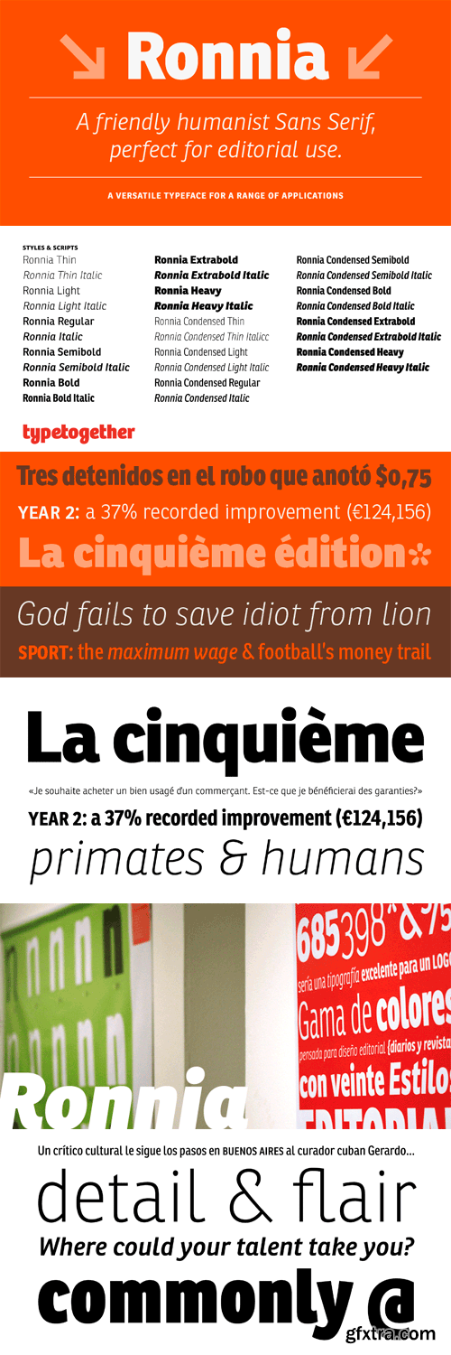 Ronnia Font Family - 14 Fonts (Incomplete Family) for $939