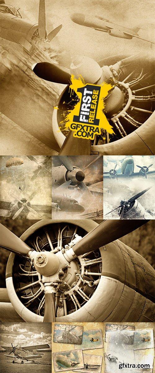 Stock Photo: Retro aviation, old airplane