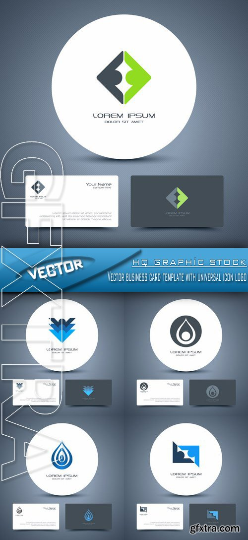 Stock Vector - Vector business card template with universal icon logo