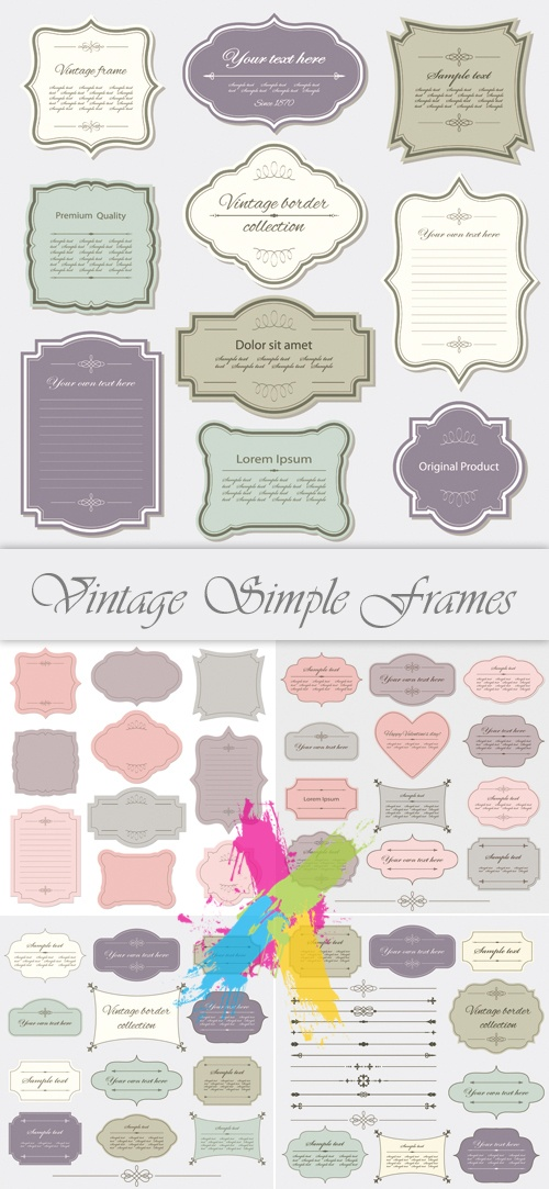 Vintage Classic Simple Frames Vector