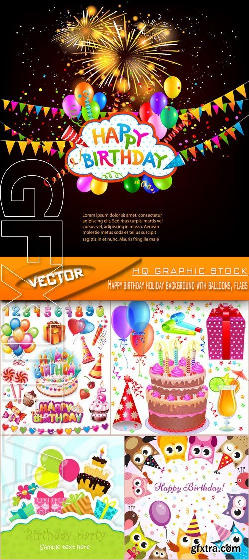 Stock Vector - Happy birthday holiday background with balloons, flags